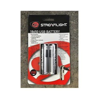 STRMLGHT 18650 BATTERY USB 2PK